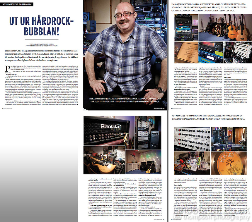 Published images of Chris Tsangarides and his studio in Sweden's MM Magazine. http://www.mmonline.se/