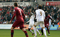 Saturday 2nd March 2013<br /> Pictured: (L-R) Davide Santon, Nathan Dyer, Michu, Cheick Tiote.<br /> Re: Barclays Premier Leaguel, Swansea  v Newcastle at the Liberty Stadium in Swansea.