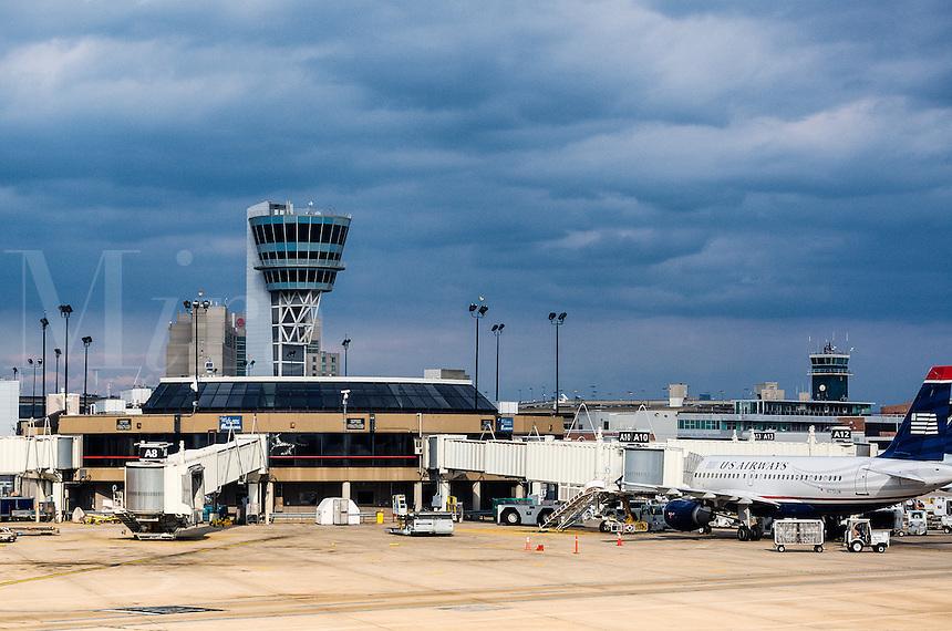 Terminal and control tower at Philadelphia airport, Pennsylvania, USA