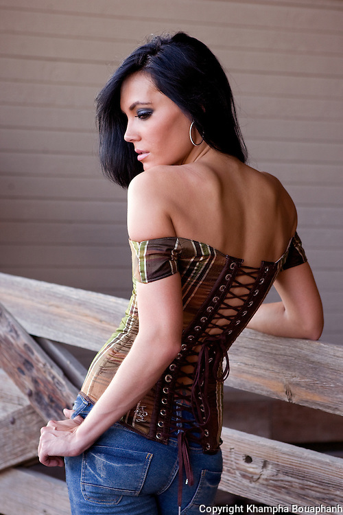 Heather Dyre models a line of corsets for Taylor Lane Design at the Fort Worth Stockyards on July 19, 2010.  (photo by Khampha Bouaphanh)
