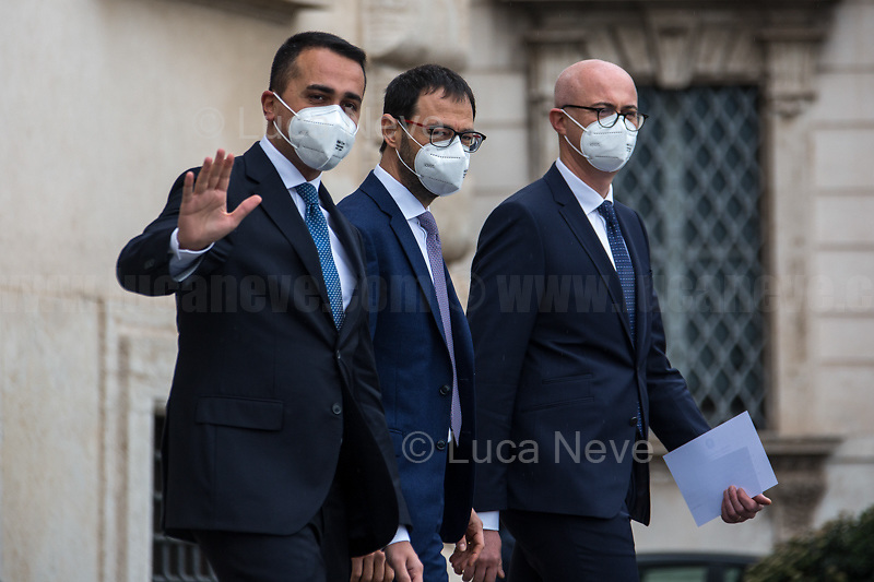 (From L to R) Luigi Di Maio, Minister of Foreign Affairs; Stefano Patuanelli, Minister of Agriculture & Federico D'Incà, Minister of Parliamentary Relations.<br />