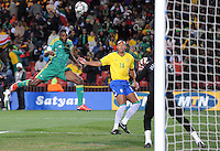 Aaron Mokoena of South Africa heads just over. Brazil defeated South Africa 1-0 during the semi-finals of the FIFA Confederations Cup at Ellis Park Stadium in Johannesburg, South Africa on June 25, 2009..