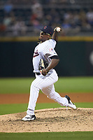Charlotte Hornets relief pitcher Thyago Vieira (10) in action against the Louisville Bats at BB&T BallPark on June 22, 2019 in Charlotte, North Carolina. The Hornets defeated the Bats 7-6. (Brian Westerholt/Four Seam Images)