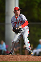 Ball State Cardinals pitcher Brendan Burns (30) during a game against the Dartmouth Big Green on March 7, 2015 at North Charlotte Regional Park in Port Charlotte, Florida.  Ball State defeated Dartmouth 7-4.  (Mike Janes/Four Seam Images)