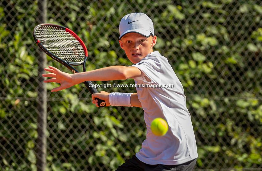Hilversum, Netherlands, Juli 29, 2019, Tulip Tennis center, National Junior Tennis Championships 12 and 14 years, NJK, Hidde Schoenmakers (NED)<br /> Photo: Tennisimages/Henk Koster