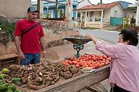 Cuba, Pinar del Rio Region, Viñales (Vinales).  Vendor Selling Malanga, Tomatoes.
