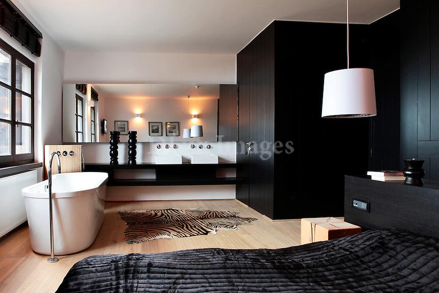 modern elegant bedroom with bathtub