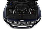 Car Stock 2021 Genesis GV80 Advanced 5 Door SUV Engine  high angle detail view