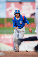 South Bend Cubs left fielder Zach Davis (22) runs to third base during the first game of a doubleheader against the Lake County Captains on May 16, 2018 at Classic Park in Eastlake, Ohio.  South Bend defeated Lake County 6-4 in twelve innings.  (Mike Janes/Four Seam Images)