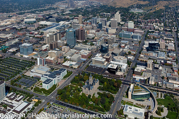 aerial photograph Salt Lake City, Utah from Washington Square to the State Capitol