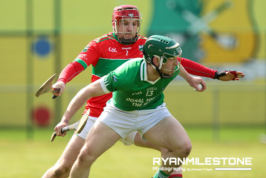 Stevie Nolan of Drom Inch in action against Shane Nolan of Loughmore/Castleiney during the Centenary Agri Mid Senior Hurling Championship Quarter Final between Loughmore/Castleiney and Drom Inch on Saturday 28th April 2018 at Templetuohy, Co Tipperary, Photo By Michael P Ryan