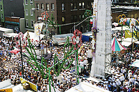 """The """"Giglio"""" and the """"Boat"""" meet at the annual Feast of Our Lady of Mount Carmel and the Dancing of the Giglio in Brooklyn, NY, on July 13, 2003."""