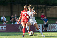 NEWTON, MA - AUGUST 29: Taylor Kofton of Boston University and Emily Langenderfer #6 of Boston College battle for the ball during a game between Boston University and Boston College at Newton Campus Field on August 29, 2019 in Newton, Massachusetts.