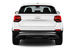 Straight rear view of 2017 Audi Q2 Sport 5 Door SUV stock images