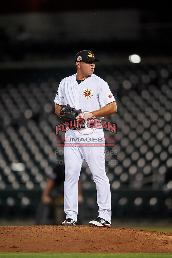 Mesa Solar Sox relief pitcher Jesus Zambrano (8), of the Oakland Athletics organization, during an Arizona Fall League game against the Scottsdale Scorpions on September 18, 2019 at Sloan Park in Mesa, Arizona. Scottsdale defeated Mesa 5-4. (Zachary Lucy/Four Seam Images)