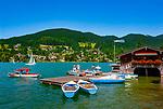 Deutschland, Bayern, Oberbayern, Tegernseer Tal, Rottach-Egern am Tegernsee: Bootsvermietung | Germany, Bavaria, Upper Bavaria, Tegernseer Valley, Rottach-Egern at Lake Tegern: boat rental
