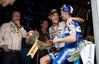 European Champion Matteo Trentin (ITA/Mitchelton-Scott) wins stage 17, the 4th stage win by his Mitchelton-Scott team and celebrates with Yellow Jersey Julian Alaphilippe (FRA/Deceuninck - QuickStep) backstage on the finish podium<br /> <br /> Stage 17: Pont du Gard to Gap(206km)<br /> 106th Tour de France 2019 (2.UWT)<br /> <br /> ©kramon