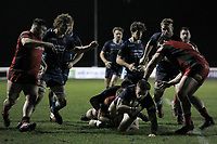 Rob Stevenson of London Scottish is brought to ground during the Greene King IPA Championship match between London Scottish Football Club and Hartpury RFC at Richmond Athletic Ground, Richmond, United Kingdom on 11 January 2019. Photo by Carlton Myrie / PRiME Media Images