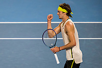 16th February 2021, Melbourne, Victoria, Australia; Alexander Zverev of Germany celebrates after winning a game during the quarterfinals of the 2021 Australian Open on February 16 2021, at Melbourne Park in Melbourne, Australia.