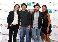 "Da sinistra: gli attori Francesco Mandelli, Herbert Ballerina, il regista Maccio Capatonda e l'attrice Barbara Tabita posano durante un photocall per la presentazione del film ""Mariottide"" al Festival Internazionale del Film di Roma, 16 ottobre 2016 .<br /> From left: actors Francesco Mandelli, Herbert Ballerina, director Maccio Capatonda and actress  Barbara Tabita   pose for a photocall to present the movie ""Mariottide"" during the international Rome Film Festival at Rome's Auditorium, 16 October 2016 .<br /> UPDATE IMAGES PRESS/Isabella Bonotto"