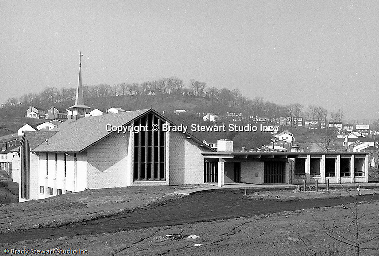 North Hills PA:  View of the new North Hills Methodist Church on Thompson Run Road.  The assignment was given to Brady Stewart Studio by the church to take exterior and interior photographs of the church on Easter Sunday in order to create a brochure for the May 14th, 1967 dedication.