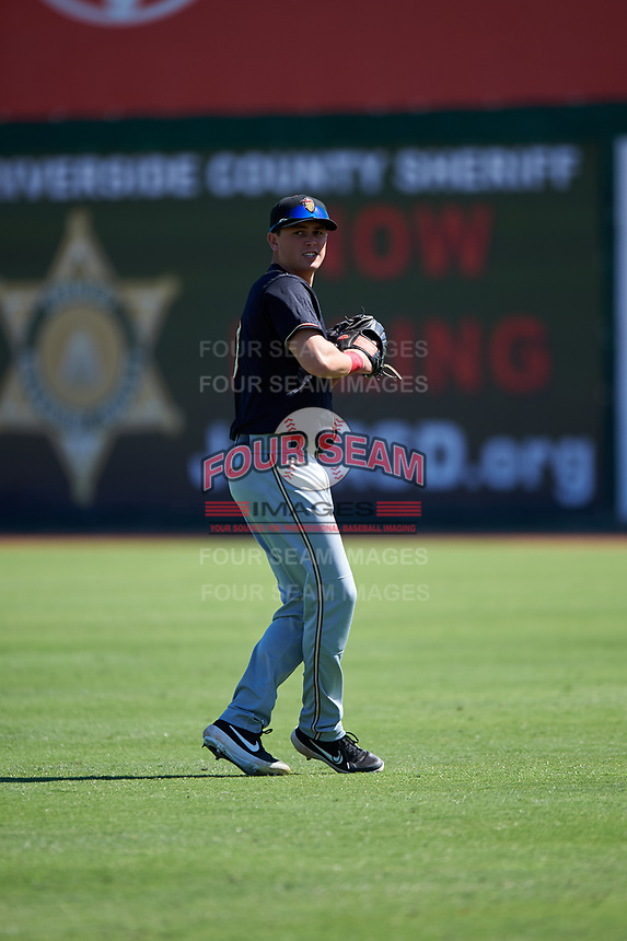 Modesto Nuts right fielder Jack Larsen (13) during a California League game against the Inland Empire 66ers on April 10, 2019 at San Manuel Stadium in San Bernardino, California. Inland Empire defeated Modesto 5-4 in 13 innings. (Zachary Lucy/Four Seam Images)