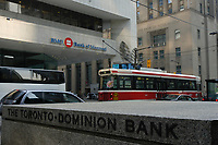 A tramway pass in front of THE TORONTO-DOMINION BANK, the NOVA SCOTIA BANK and the BANK OF MONTREAL on King Street West in downtown Toronto.<br /> <br />     photo by Pierre Roussel - Images Distribution