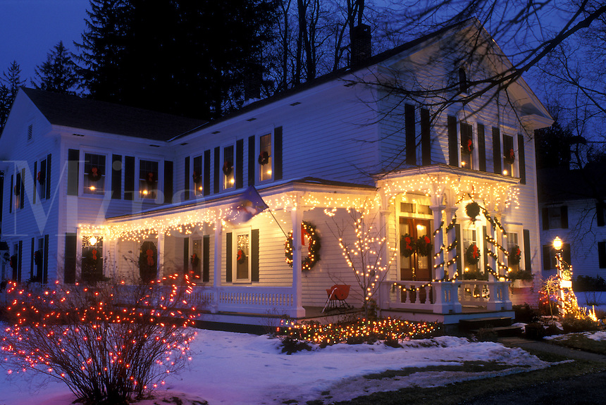 B&B, Inn, Stockbridge, Berkshires, Massachusetts, Christmas lights decorate the beautiful Four Seasons Bed & Breakfast at night in Stockbridge in the state of Massachusetts.