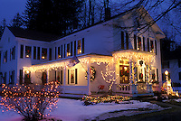 B&B, Inn, Stockbridge, Berkshires, Massachusetts, Christmas lights decorate the beautiful Four Seasons Bed & Breakfast at night in Stockbridge in the state of Massachusetts.