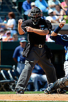 Home plate umpire Jeff Gosney makes a call during a Spring Training game between the Detroit Tigers and Tampa Bay Rays at Joker Marchant Stadium on March 29, 2013 in Lakeland, Florida.  (Mike Janes/Four Seam Images)