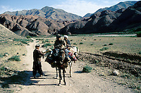 Farmers on the road to the Menar e Jam in the Ghor province - Afghanistan. .From western Afghan capital Herat to the former capital of the Ghorides Empire Fîrûzkôh, next to the Mena e Jam.