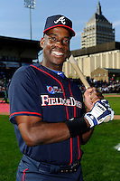 Former Atlanta Braves first baseman Fred McGriff #27  poses for a photo before the MLB Pepsi Max Field of Dreams game on May 18, 2013 at Frontier Field in Rochester, New York.  (Mike Janes/Four Seam Images)