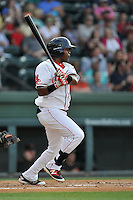 Center fielder Luis Alexander Basabe (19) of the Greenville Drive bats in a game against the Augusta GreenJackets on Thursday, June 9, 2016, at Fluor Field at the West End in Greenville, South Carolina. Augusta won, 8-2. (Tom Priddy/Four Seam Images)