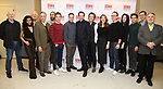 Michael Siberry, Rana Roy, Bill Buell, Kevin Pariseau, Eden Marryshow, James Graham, Jonny Lee Miller, Bertie Carvel, Rupert Goold, Tara Summers, David Wilson Barnes, Erin Neufer, Andrew Durand, Robert Stanton and Colin McPhillamy attend the 'INK' cast photo call and rehearsal at Manhattan Theatre Club Rehearsal Studios on March 5, 2019 in New York City.