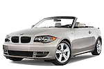 Low aggressive front three quarter view of a 2007 - 2011 BMW 1-Series 128i convertible.