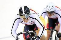 Southland's Steph McKenzie and Natasha Hansen at the BikeNZ Elite & U19 Track National Championships, Avantidrome, Home of Cycling, Cambridge, New Zealand, Sunday, March 16, 2014. Credit: Dianne Manson