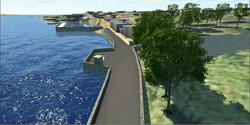 An artist's aerial view from north of the proposed new Roundstone pumping station