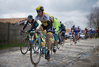 Maarten Tjallingii (NLD/LottoNL-Jumbo) over the cobbles of the Paddestraat<br /> <br /> E3 - Harelbeke 2016