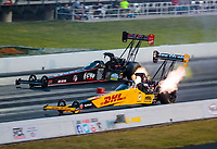Sep 5, 2020; Clermont, Indiana, United States; NHRA top fuel driver Shawn Langdon (near) alongside Steve Torrence during qualifying for the US Nationals at Lucas Oil Raceway. Mandatory Credit: Mark J. Rebilas-USA TODAY Sports