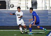 NWA Democrat-Gazette/CHARLIE KAIJO Bentonville High School Brandom Martinez (8) leads the ball during a soccer game, Friday, April 26, 2019 at  Whitey Smith Stadium at Rogers High School in Rogers.