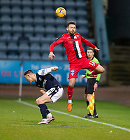 19th December 2020; Dens Park, Dundee, Scotland; Scottish Championship Football, Dundee FC versus Dunfermline; Ryan Dow of Dunfermline Athletic challenges for the ball with Jordan Marshall of Dundee