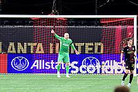 ATLANTA, GA - APRIL 27: Atlanta United goalkeeper #1 Brad Guzan directs his defense during a game between Philadelphia Union and Atlanta United FC at Mercedes-Benz Stadium on April 27, 2021 in Atlanta, Georgia.