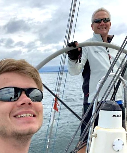 Ben Colwell and his father Richard (ICRA Commodore) aboard the J/109 Outrajeous