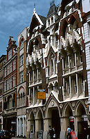"""London:  33-35 Eastcheap, 1877. R. L.  Roumieu.  See NAIRN, p. 34:  """"Demolition is in the air; but it must be preserved.""""  Victorian Gothic.  Photo '90."""