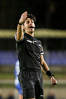 Match referee Baptiste Federico calls out to a player during a female soccer game between FC Femina White Star Woluwe and AA Gent Ladies on the 13 th matchday of the 2020 - 2021 season of Belgian Scooore Womens Super League , friday 5 th of February 2021  in Woluwe , Belgium . PHOTO SPORTPIX.BE | SPP | SEVIL OKTEM