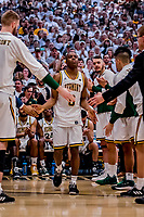 16 March 2019: University of Vermont Catamount Guard Stef Smith, a Sophomore from Ajax, Ontario, is introduced prior to facing the UMBC Retrievers in the America East Championship Game at Patrick Gymnasium in Burlington, Vermont. The Catamounts defeated the Retrievers 66-49, avenging their loss against the same team in last years' Championship Game. Mandatory Credit: Ed Wolfstein Photo *** RAW (NEF) Image File Available ***