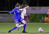 forward Gwen Duijsters (13) of KRC Genk pictured defending on Stefania Vatafu (10) of Anderlecht during a female soccer game between  Racing Genk Ladies and RSC Anderlecht on the 16 th matchday of the 2020 - 2021 season of Belgian Scooore Womens Super League , friday 12 th of March 2021  in Genk , Belgium . PHOTO SPORTPIX.BE   SPP   SEVIL OKTEM