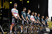 Peter Sagan (SVK/Bora-Hansgrohe) and Teammates of Bora-Hansgrohe at the pre Tour teams presentation of the 108th Tour de France 2021 in Brest at le Grand Départ.