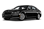 Stock pictures of low aggressive front three quarter view of 2019 BMW 7-Series 740i 4 Door Sedan Low Aggressive