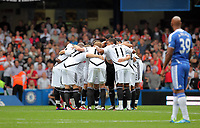 Pictured: Swansea City Players huddle. Saturday 17 September 2011<br />